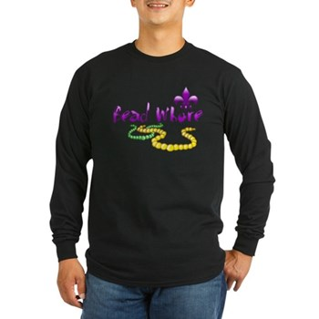 Mardi Gras Bead Whore Long Sleeve Dark T-Shirt