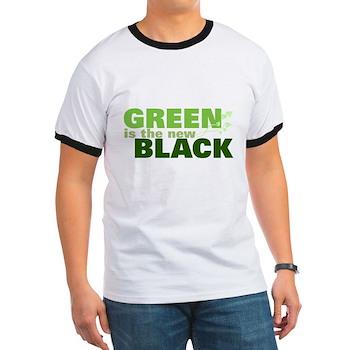 Green New Black Ringer T