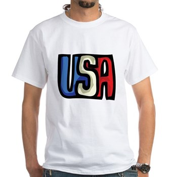 Red, White and Blue USA White T-Shirt