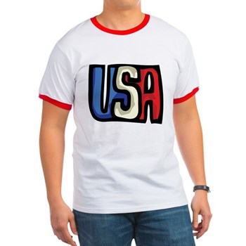Red, White and Blue USA Ringer T
