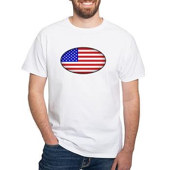 Oval American Flag White T-Shirt