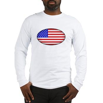 Oval American Flag Long Sleeve T-Shirt