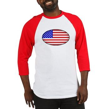 Oval American Flag Baseball Jersey