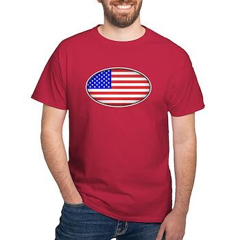 Oval American Flag Dark T-Shirt