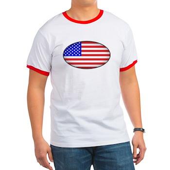 Oval American Flag Ringer T
