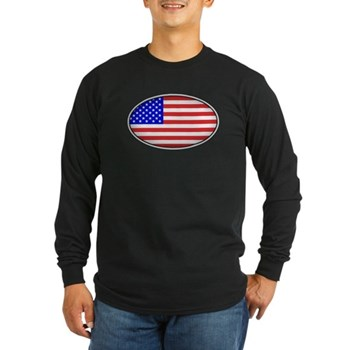 Oval American Flag Long Sleeve Dark T-Shirt