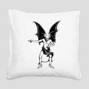 Vintage Pointing Devil Square Canvas Pillow