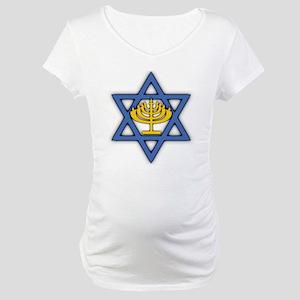 Star of David with Menorah Maternity T-Shirt