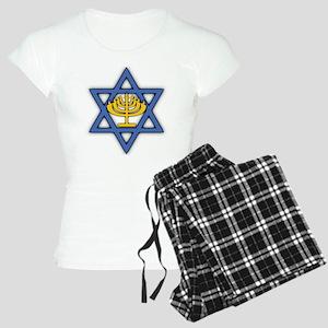 Star of David with Menorah Women's Light Pajamas