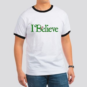 I Believe with Santa Hat Ringer T