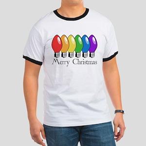 Merry Christmas Rainbow Lights Ringer T