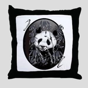 Grey Tone Panda Throw Pillow