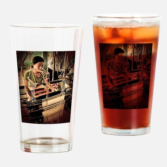 Cambodian Silk Weaver Drinking Glass