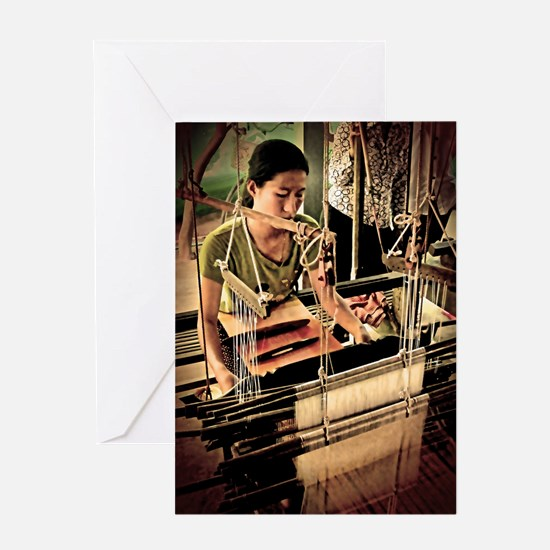 Cambodian Silk Weaver Greeting Card