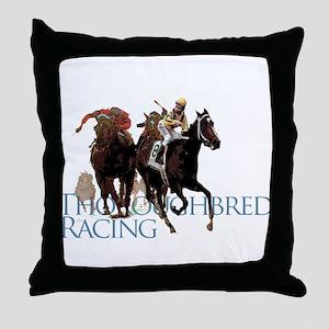 Thoroughbred Racing Throw Pillow