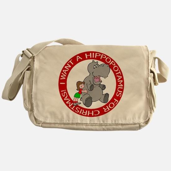 Hippopotamus For Christmas Messenger Bag