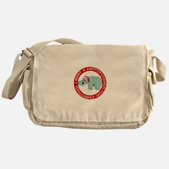 Christmas Hippopotamus Messenger Bag