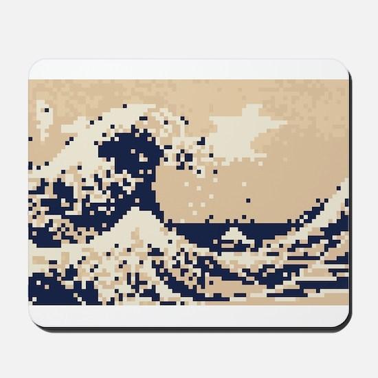Pixel Tsunami Great Wave 8 Bit Art Mousepad
