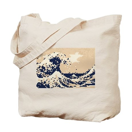 Pixel Tsunami Great Wave 8 Bit Art Tote Bag