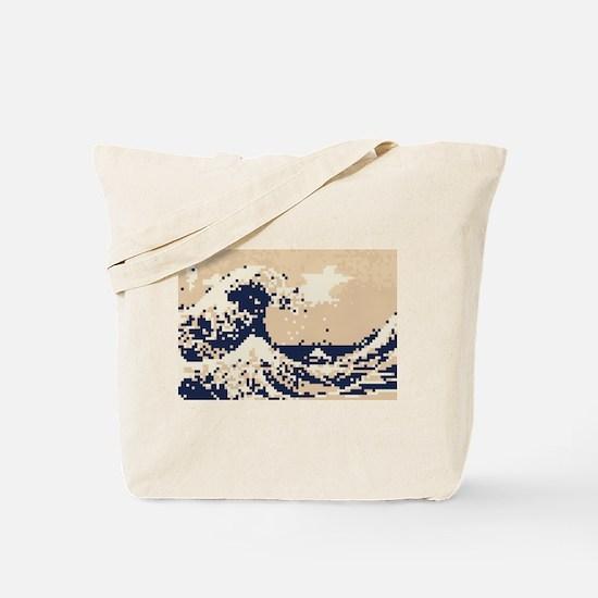 Pixel Tsunami Great Wave 8 Bit Art Tote Bag