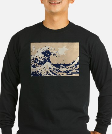 Pixel Tsunami Great Wave 8 Bit Art T