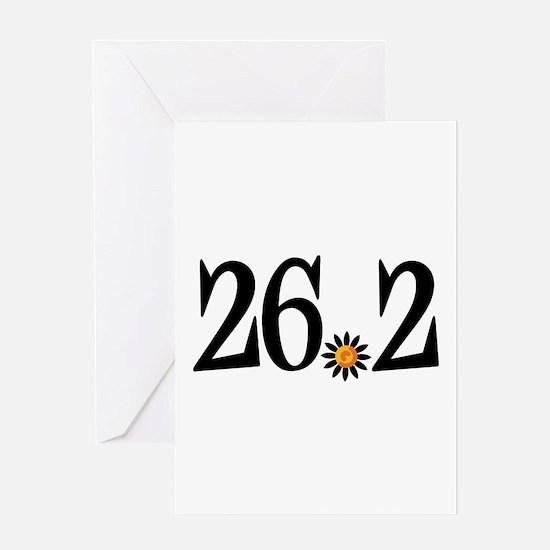 26.2 black orange flower Greeting Card