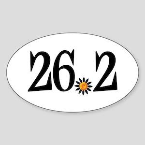 26.2 black orange flower Sticker (Oval)