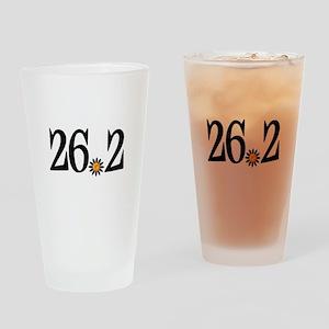 26.2 black orange flower Drinking Glass