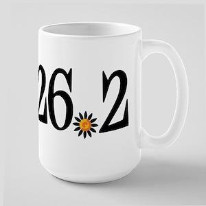 26.2 black orange flower Large Mug