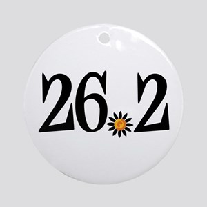 26.2 black orange flower Ornament (Round)