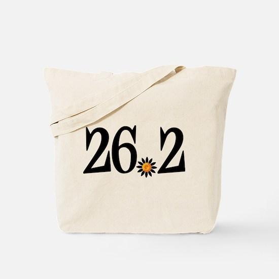 26.2 black orange flower Tote Bag