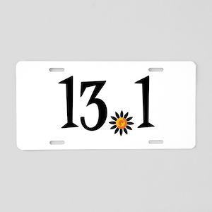13.1 with orange flower Aluminum License Plate