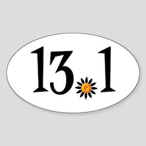 13.1 with orange flower Sticker (Oval)