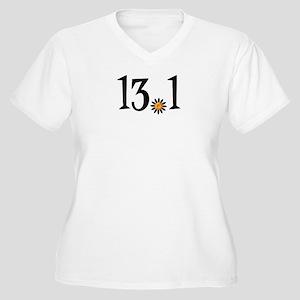13.1 with orange flower Women's Plus Size V-Neck T