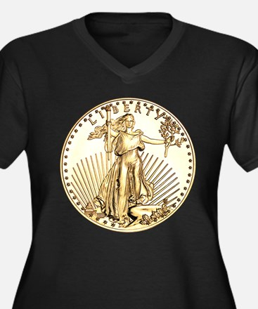 The Liberty Gold Coin Women's Plus Size V-Neck Dar