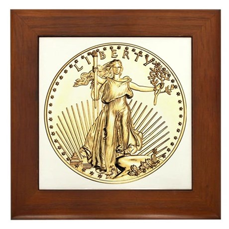 The Liberty Gold Coin Framed Tile