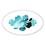 Hibiscus Surf - Sticker (Oval 50 pk)