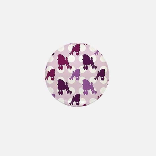 Purple Poodle Polka Dot Mini Button