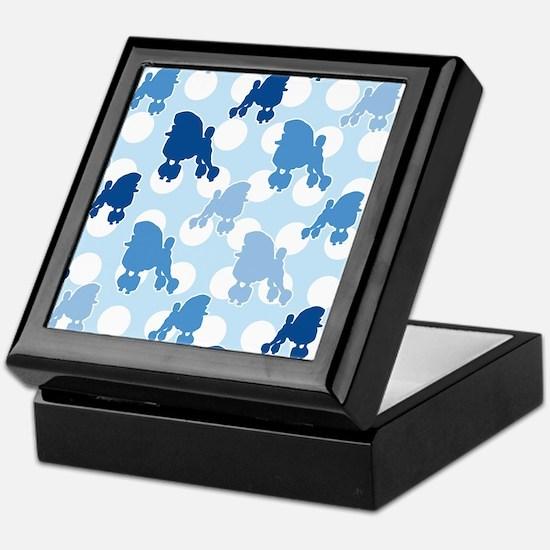 Blue Poodle Polka Dot Keepsake Box
