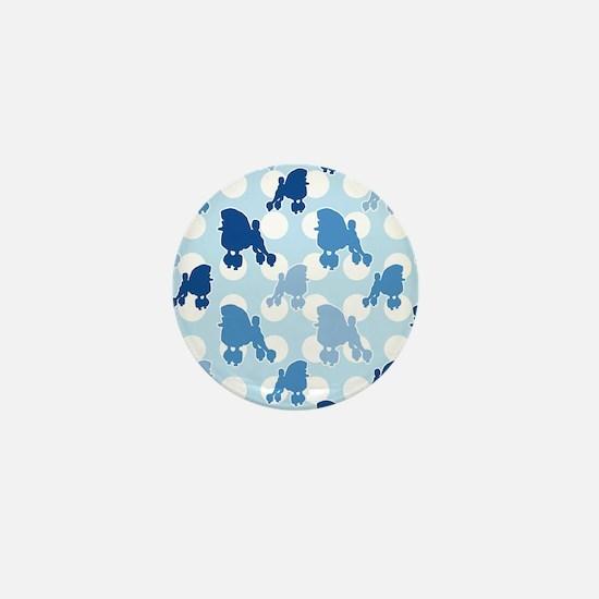 Blue Poodle Polka Dot Mini Button