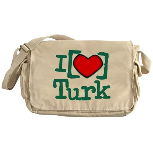 I Heart Turk Canvas Messenger Bag
