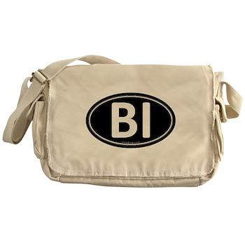 BI Black Euro Oval Canvas Messenger Bag
