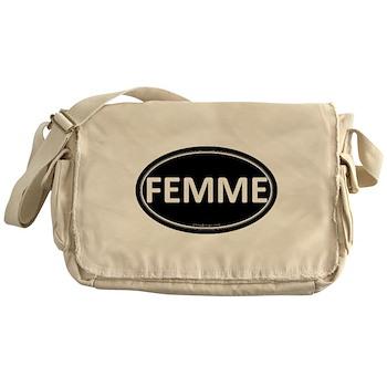 FEMME Black Euro Oval Canvas Messenger Bag