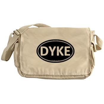 DYKE Black Euro Oval Canvas Messenger Bag