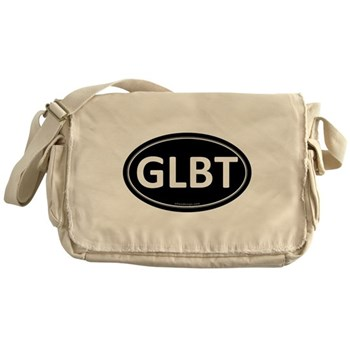 GLBT Black Euro Oval Canvas Messenger Bag