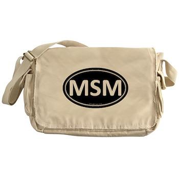 MSM Black Euro Oval Canvas Messenger Bag