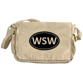 WSW Black Euro Oval Canvas Messenger Bag