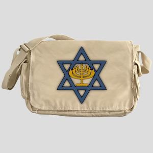 Star of David with Menorah Canvas Messenger Bag