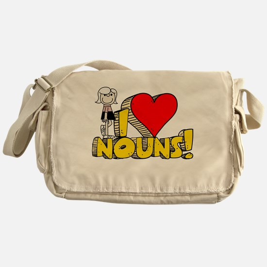 I Heart Nouns Canvas Messenger Bag