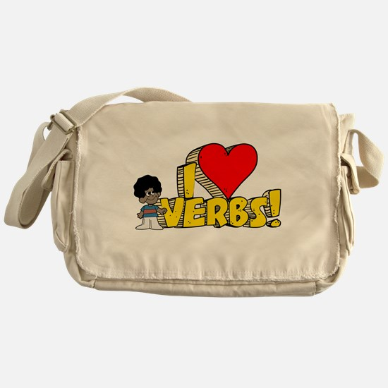 I Heart Verbs - Schoolhouse R Canvas Messenger Bag
